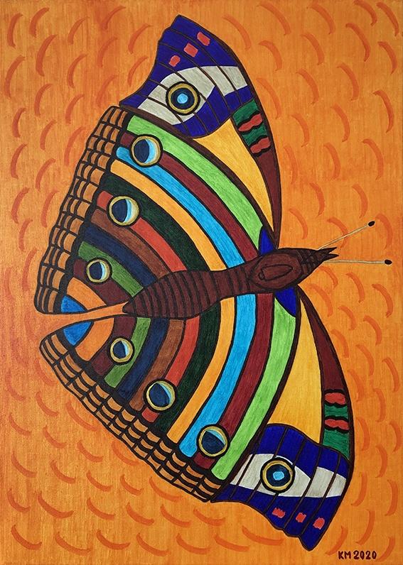 """""""Farfalla sulla camelia"""" pennello su tela, 50x70 cm. 2020 - 2.400 euro"""